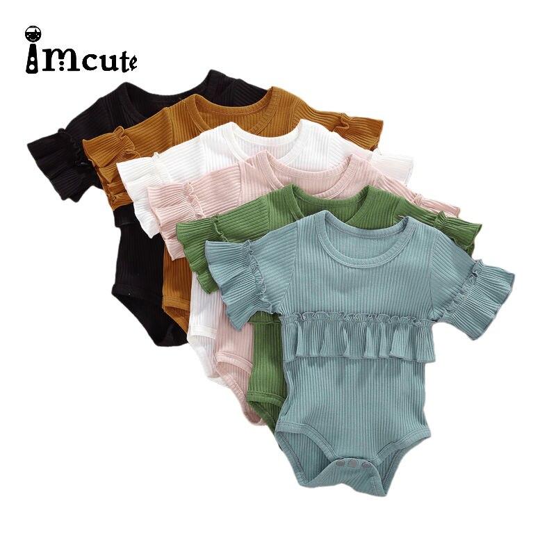 Imcute, ropa de otoño para bebé, ropa para bebé recién nacido, ropa para niño, mono de manga corta con volantes, mono sólido, trajes, traje de playa