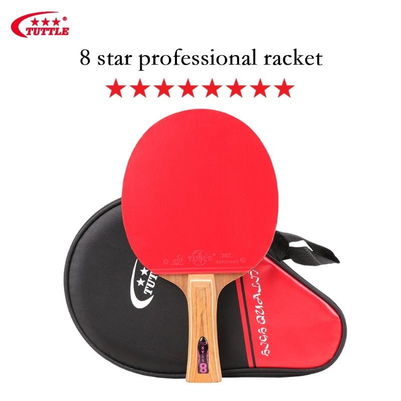 Raqueta de Ping Pong Tuttle 8 Star profesional, raqueta de tenis de 5-Mesa de Palo Santo con ITTF aprobado, raquetas de goma, buen giro y Control