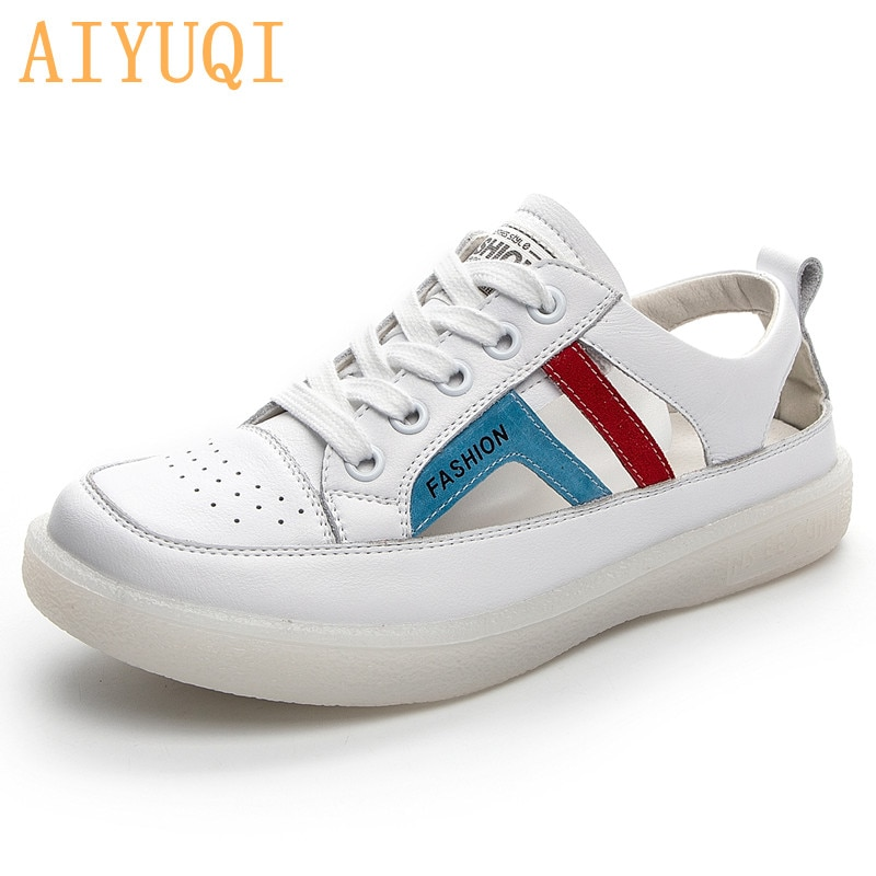 AIYUQI Sneakers Shoes Women 2021 Summer New Genuine Leather Hole Shoes Girls Hollow Flat Nurse Shoes Women Loafers