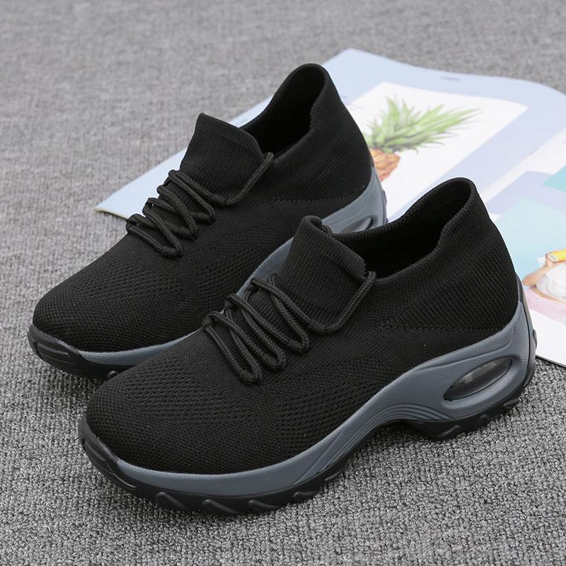 MWY, Zapatos planos de plataforma Para Mujer, Zapatos informales con cordones, zapatillas de cuña Para Mujer, zapatillas negras, zapatillas planas tejidas