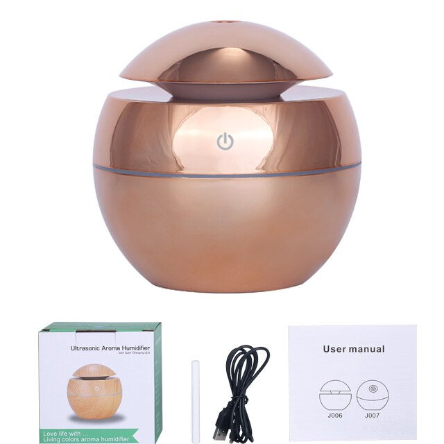 KBAYBO 130ml USB Ultrasonic Air Humidifier Diffusers Aromatherapy Essential Oil Diffuser Humidifier Plating for Home Office