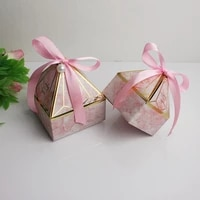 10pcs diamond wedding favors candy gift boxes baby shower paper chocolate dragee packaging festival party wrapping supplies