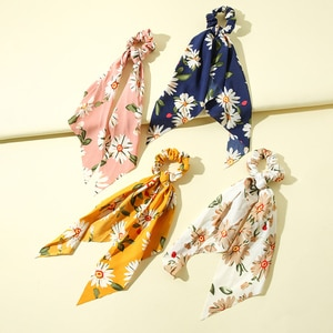 4Pcs/lot Floral Print Scrunchies for Women Elastic Hair Bands Sunflower Bow Hair Scarf Hair Rope Ties Fashion Hair Accessories