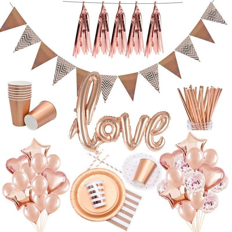 Rose Gold Thema Party Geschirr Geschirr Teller Tasse Strohhalme Geburtstag Party Decor Hochzeit Henne Bachelorette Ereignis Partei Liefert