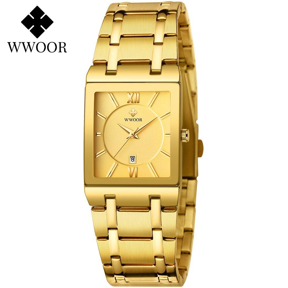 WWOOR Gold Full Steel Watches Mens 2021 Top Brand Luxury Golden Square Quartz Wristwatches Men Casual Waterproof Clock with Date