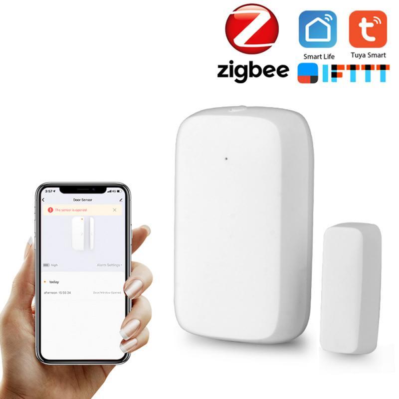 Sensor de puerta inteligente ZigBee Tuya con WiFi, detector de puerta abierta/cerrada Compatible con Alexa, Google Home, IFTTT y Tuya APP