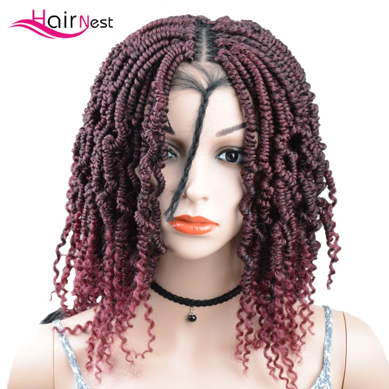 Hair Nest Diy Synthetic lace front wig Braided box braids wigs synthetic crochet braiding lace front wig for black women blonde