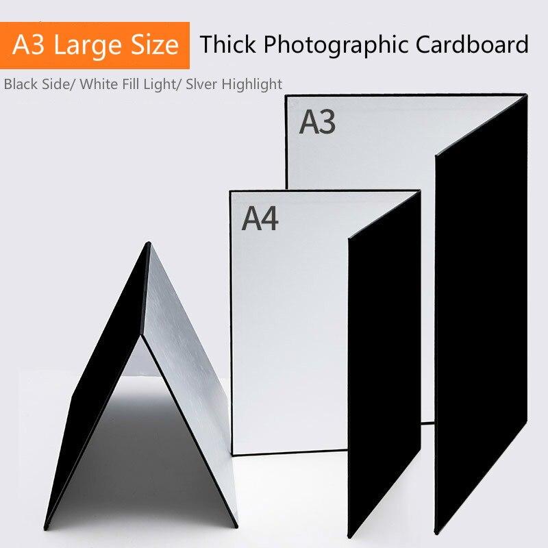 Acessório de Fotografia para Câmera Dobrável Cartão Branco Preto Refletor Absorve Luz Grossa Papel Reflexivo 58*42cm