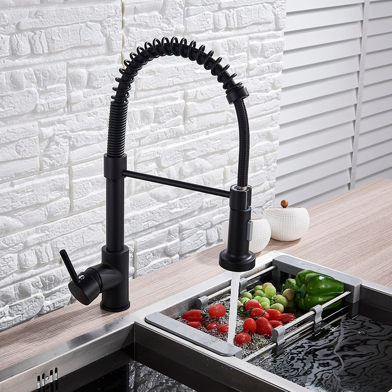 Pont monté tirer vers le bas cuisine évier robinet une poignée printemps eau chaude et froide robinet arrière Bronze salle de bain cuisine robinet