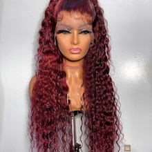 Long Kinky Curly Wigs for Black Women Wine Red Cosplay Wigs Synthetic Wig for Women Middle Part Lace Front Wigs with Preplucked