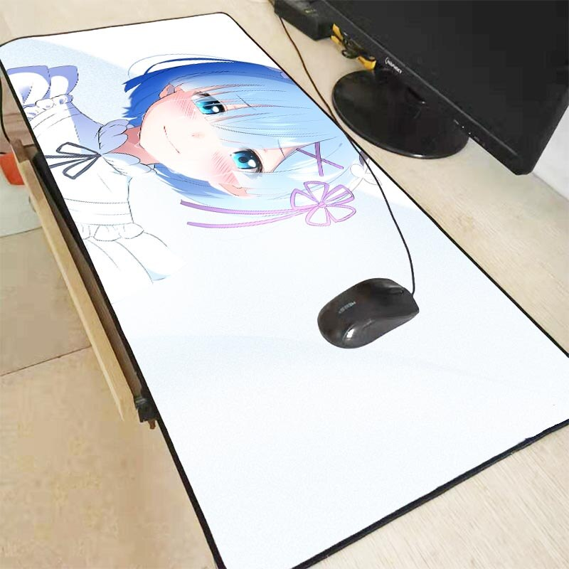 Alfombrilla para ratón XGZ Re Zero Chica de Anime Extra grande, alfombrilla para ordenador PC, goma Natural antideslizante con Borde de bloqueo alfombrilla para juegos