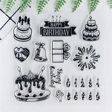 14*14 كعكة عيد ميلاد جديدة شفافة واضحة Stamps رصاصة مجلة ختم لسكرابوكينغ المطاط ختم المشاعر ألبوم بطاقة صنع