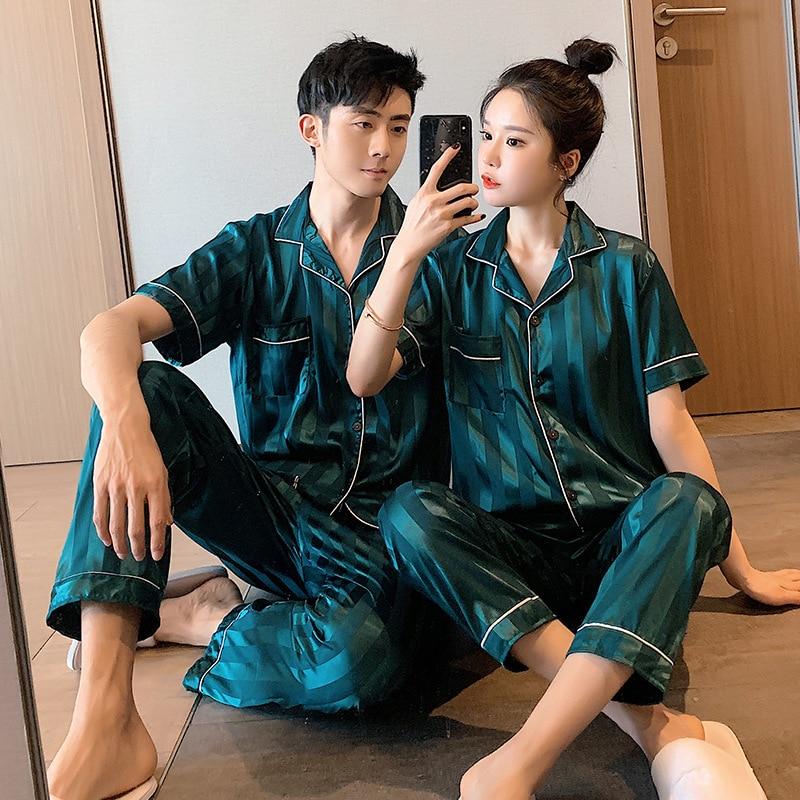 Лето новинка домашняя одежда пара 27% пижамы комплект с короткими рукавами атлас шелк тонкие большие размеры свободные мужчины женщины 27% два предмет костюм повседневные топы