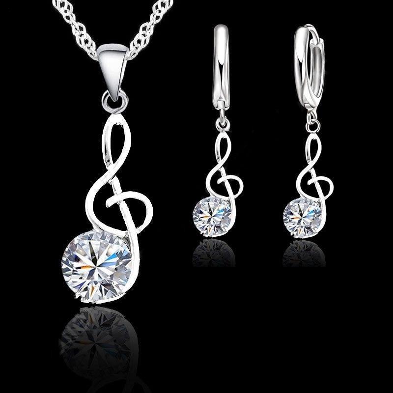 Наборы ювелирных украшений с музыкальными нотами из стерлингового серебра 925 пробы с фианитами, ожерелья с подвеской, серьги-кольца, наборы ...
