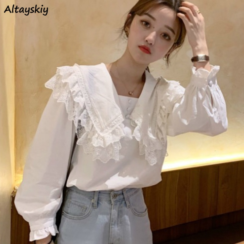 Shirts Women White Lace Sailor Collar Tops Spring New Style Shirt Harajuku Student Lovely All-match Loose Leisure Classic Retro