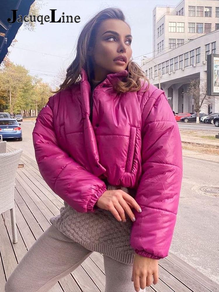 جاكوالخط 2021 سترات دافئة للشتاء سترات نسائية مبطنة سترة نسائية ذات ياقة مدورة وسحاب وأكمام طويلة معاطف قطنية فضفاضة ملابس خارجية