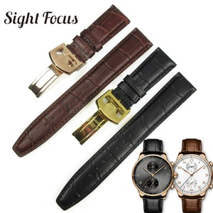 20mm 22mm Calfskin Leather Watch Band for IWC Chronograph Seven Day Power Replacement Strap Black Brown Watch Bracelet Belt Men