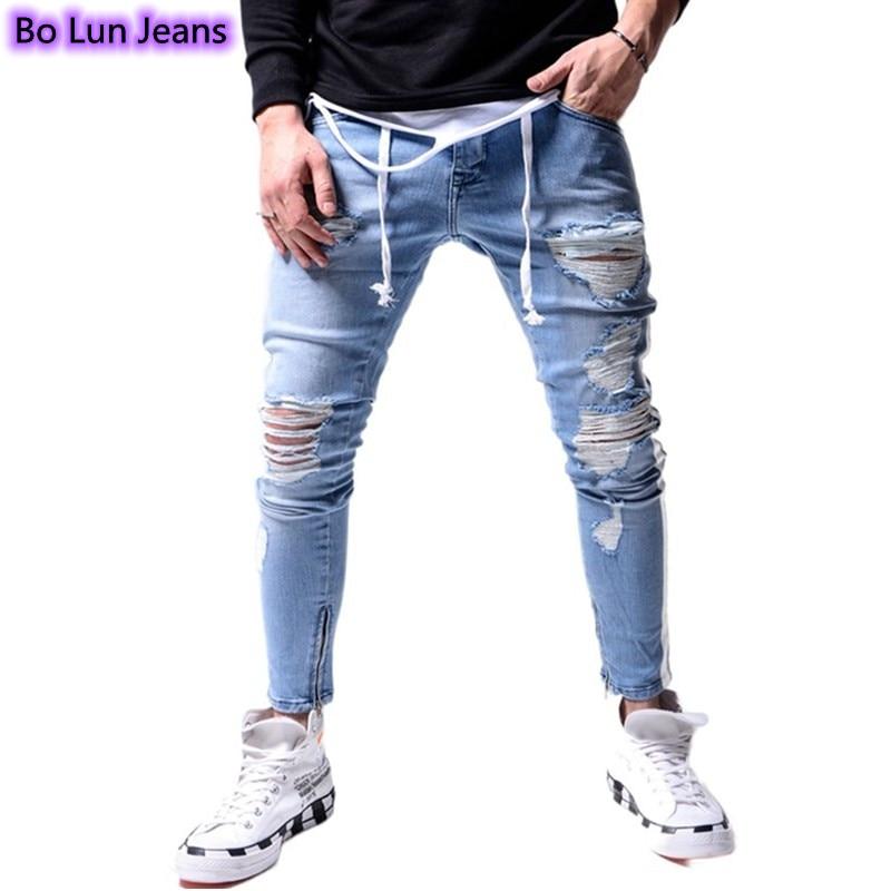 Jeans Men Ankle Zipper Jeans Ripped Skinny Jeans Side Stripe Hip-Hop Casual Pants Stretch Elastic Waist Denim Pants bleach wash lace trim ankle skinny jeans