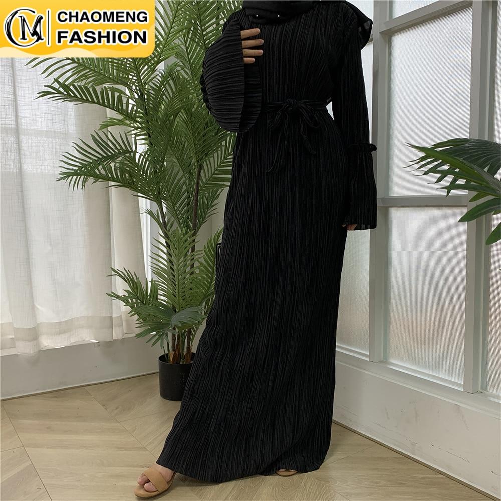جديد وصول العباءة دبي مطوي بلون تركيا العربية Elbise مسلم للنساء الحجاب اللباس القفطان Vestidos الملابس الإسلامية