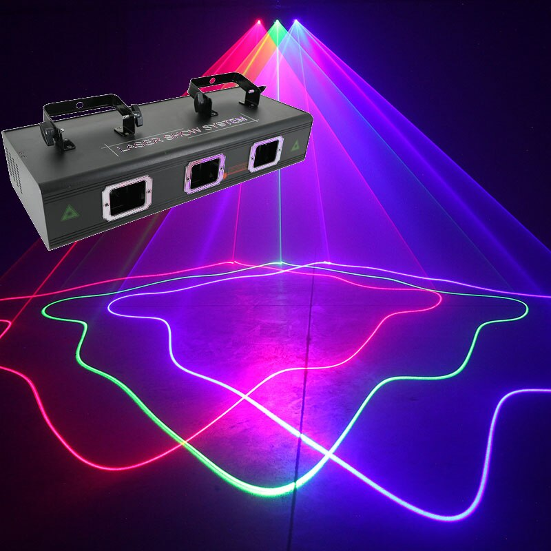 جهاز عرض ليزر عالي الجودة يعمل بالصوت ، 3 عدسات ، أحمر ، أزرق ، أخضر ، 3 ألوان