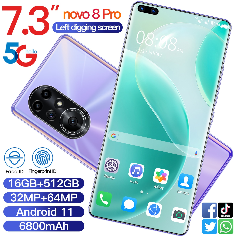 Smartphone Novo8 Pro 7.3Inch 16GB RAM 512GB ROM Andriod10 GPS 10 Core Dual SIM 4G LTE 5G 6800mAh Mobile Cell Phones