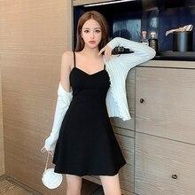 2021 Spring New Outerwear Bottoming Slimming Suspender Disco Hepburn Black A- line Dress Summer
