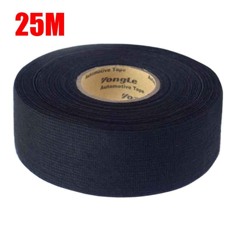 Un rollo 25M tejido adhesivo cinta de tela Cable telares arnés de cableado para Auto arnés de cableado negro