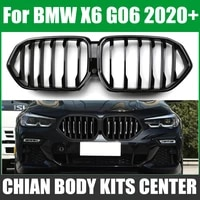 1set gloss black front bumper racing grill kidney grilles for new bmw x6 g06 2020 2019 m power performance auto accessories