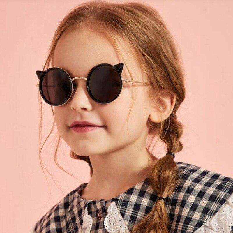 Gafas de sol de moda para niños, gafas de sol redondas con orejas de gato de dibujos animados, gafas de sol opacas para niños, gafas de sol con personalidad