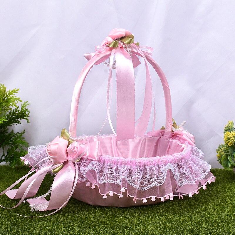Cesta de satén con encaje y borde ondulado para bebé, cesta para...