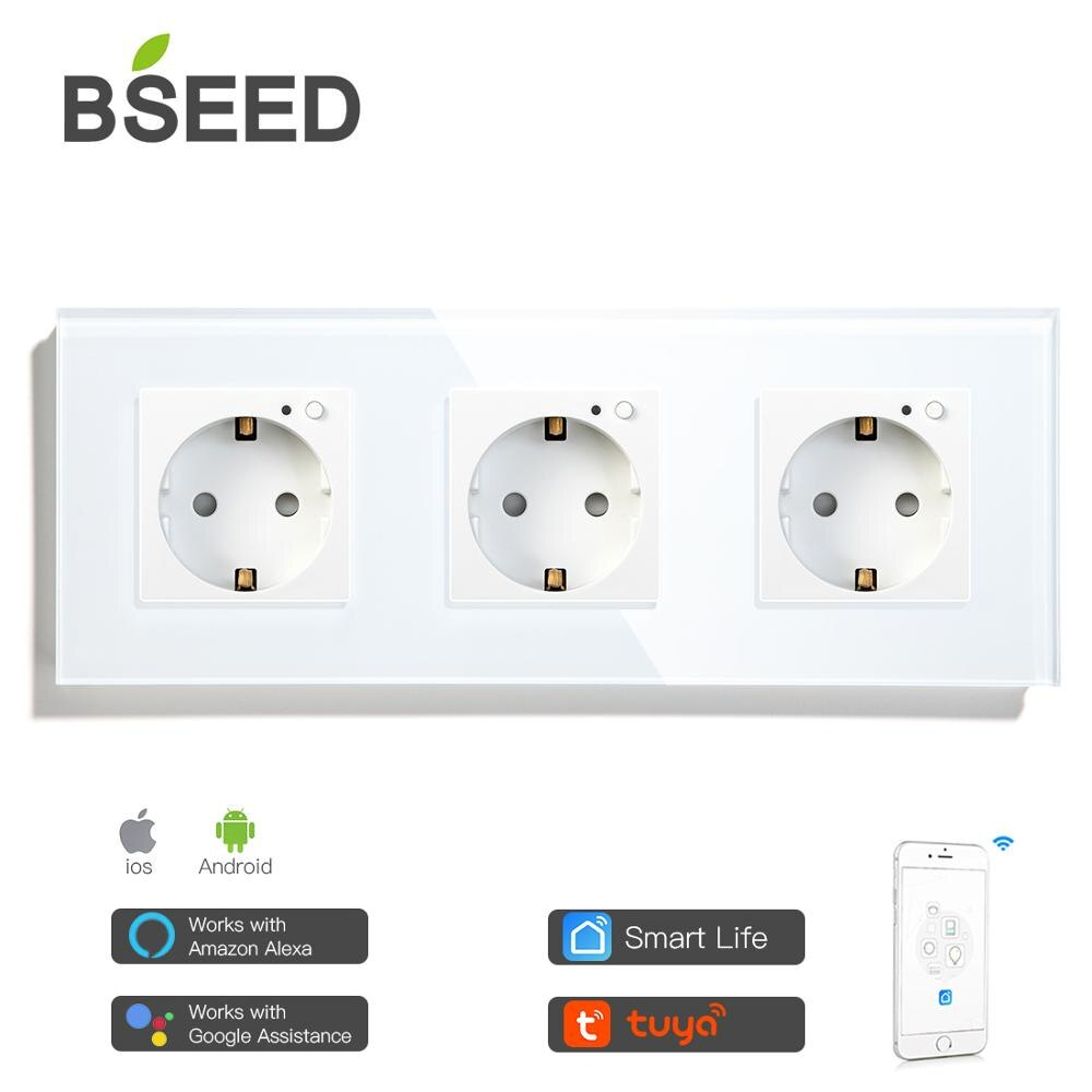 BSEED EU Wifi Triple Wall Socket Crystal Glass Panel Electrical Outlet 3 Colors White Black Golden Work With Tuya Smart Life