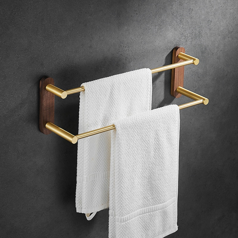 منشفة حامل لكمة خالية اكسسوارات الحمام تخزين دش رف الذهب الجوز الألومنيوم المنظم شماعات الحائط منشفة بار