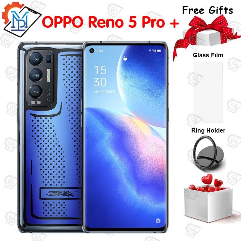 Перейти на Алиэкспресс и купить Смартфон OPPO Reno 5 Pro +, 6,55 дюйма, OLED, 90 Гц, 8 + 128, Snapdragon 865, Android 11, быстрая зарядка, 65 Вт