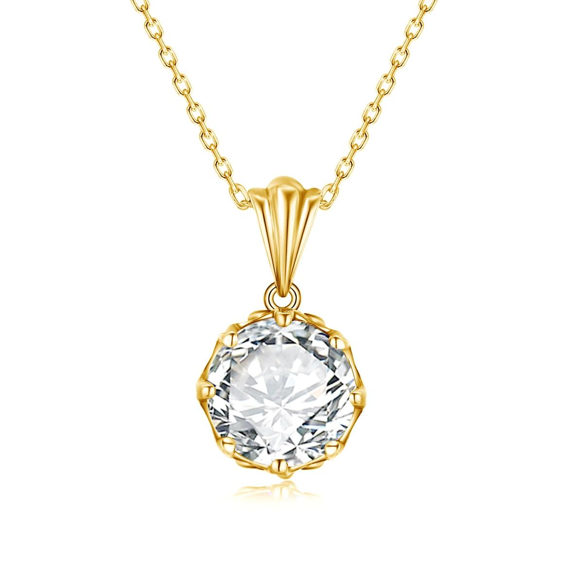 Szjinao 585 مطلية بالذهب 10 مللي متر D اللون مويسانيتي قلادة المرأة قطع مستديرة الصلبة 925 فضة زهرة المشاركة مجوهرات 2021