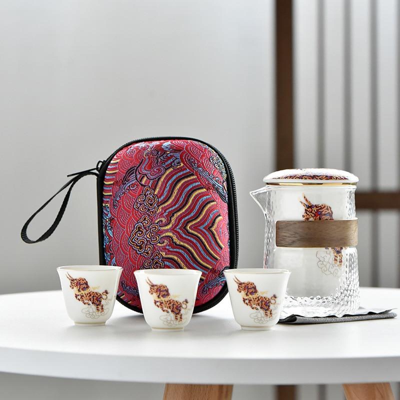 طقم شاي إبريق شاي الكونغ فو ، غلاية إبريق شاي جميلة وسهلة ، ملعقة صغيرة محمولة من السيراميك للسفر الصيني ، كوب قهوة من السيراميك