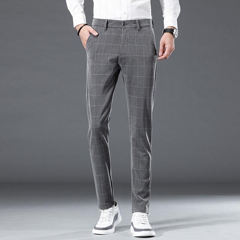 Весна-Осень 2021, модные брендовые мужские облегающие повседневные Стрейчевые брюки, мужские деловые брюки в клетку, длинные брюки, Брендовые...