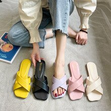 Women Slippers Candy Colors Flats Sandals Female Sandalias Heels Outdoor Leather Summer Slip On Ladi