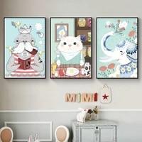 Peinture sur toile avec chat  elephant porte-bonheur  lion de mer  vie douce  affiche retro  decoration de la maison  cadeaux pour enfants