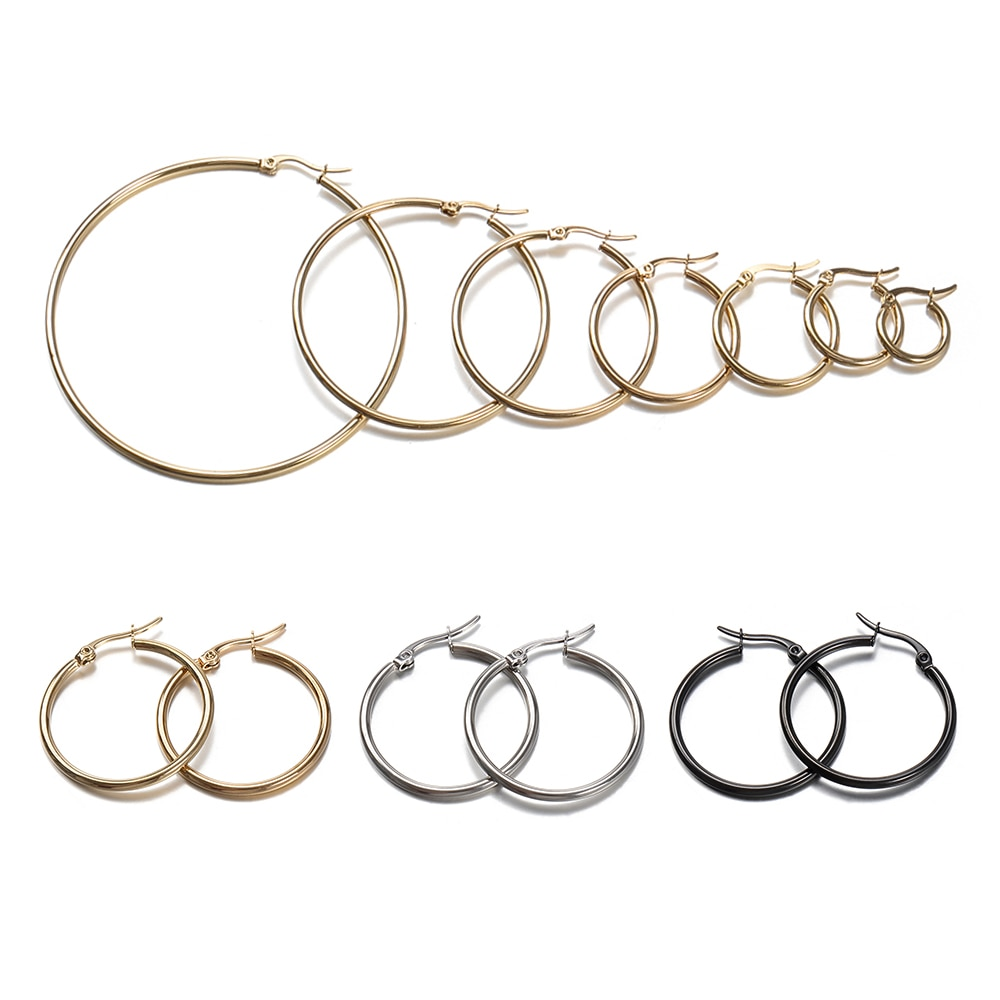 10pcs 15 20 25 40mm Gold Stainless Steel Open Earrings Circle Hooks Earrings Clasp Base Fitting For
