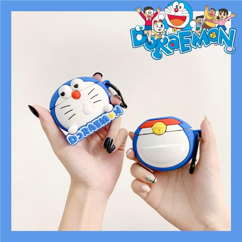 3D милые японские Мультяшные Doraemon корпусы гарнитурные для Apple Airpods 1/2 Милые силиконовые ударопрочный наушник крышка аксессуары