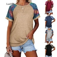 new 2021 summer women t shirt camouflage patchwork casual o neck short sleeve tee female pullover t shirts tops plus size 3xl