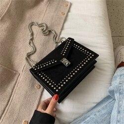 Scrub couro pequeno ombro messenger bags designer nova corrente rebite bloqueio crossbody saco de viagem feminina mini sacos para as mulheres 2020