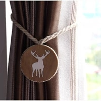 fashion nordic curtain strap cotton thread handmade solid wood carving elk curtain clip magnetic curtain strap accessories decor