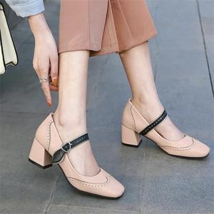 Girls Leather Shoes High Heels Women 2021 Spring Mary Jane Shoes Women's High Heels Retro Platform Pumps Shoes Women