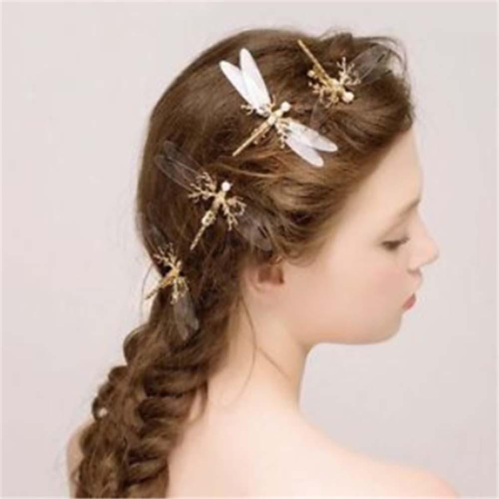 Hot 1PC New Fashion Charm Dragonfly Hair Clip Pearl Bridal Headdress Gold Hairpins Wedding Jewelry Girls Geometry Cute Hair Clip