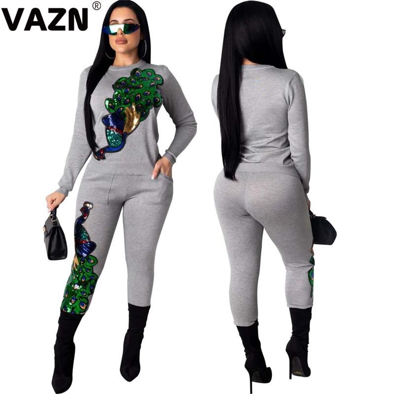 VAZN gris de manga completa de longitud completa ceñido conjunto de estampado sólido cuello redondo 2020 nueva moda deporte Color 2 piezas Casual mujeres conjunto