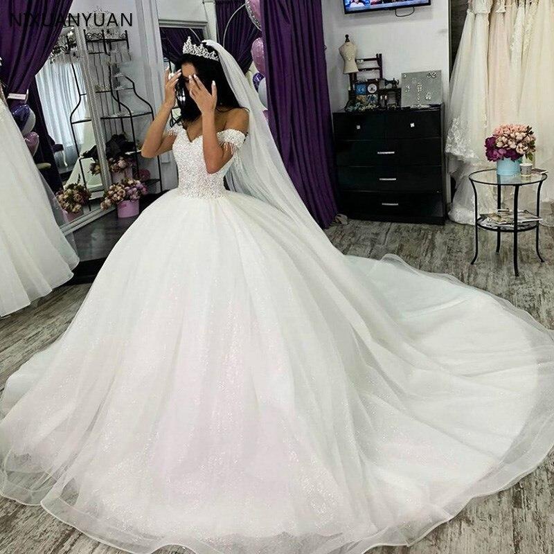 Weiß Elfenbein Luxus Ballkleid Brautkleider Prinzessin Elegante Plus Größe Türkei Frauen Off Schulter Braut Kleider Braut Kleider