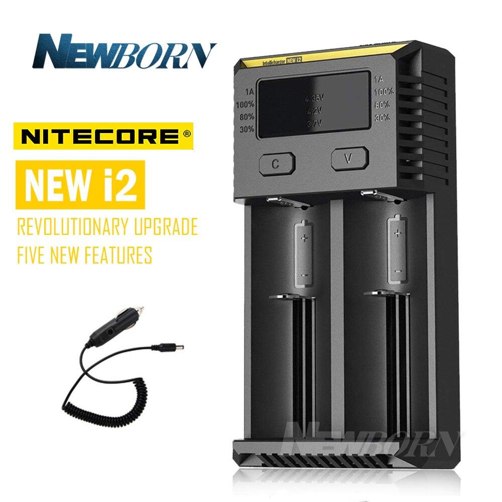 NITECORE nueva versión 1 cargador de batería de PC para 16340 10440 AA AAA 14500 18650 26650 cargador de batería I2 + regalo