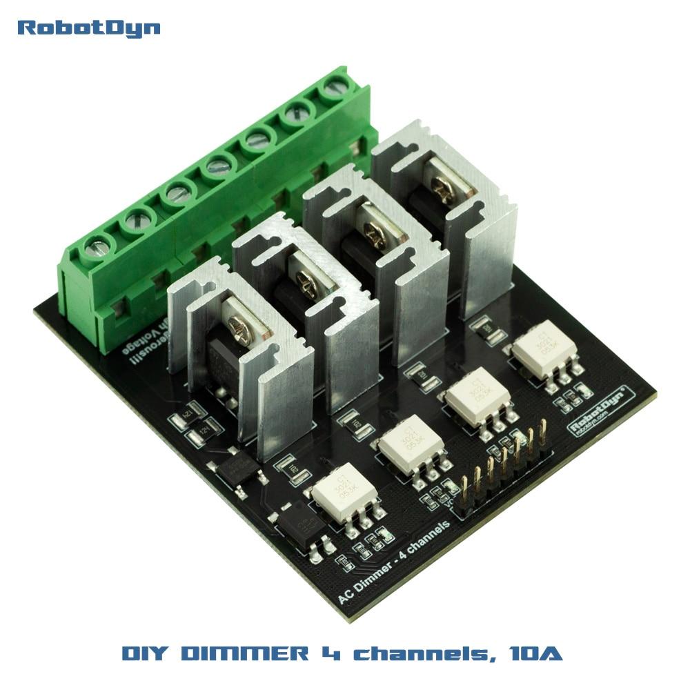AC Light Dimmer Module, 4 Channel, 3.3V/5V logic, AC 50/60hz, 110V~400V, 10A per channel
