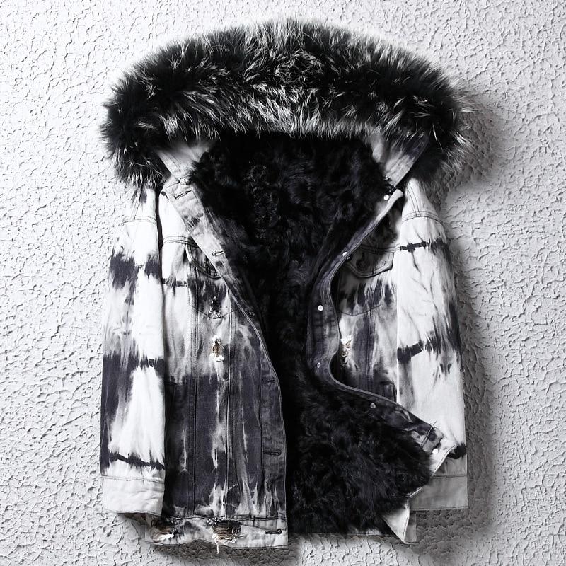 معطف رجالي بياقة من فرو الراكون الحقيقي ، جاكيت شتوي ، بطانة صوف ، دنيم ، مقاسات كبيرة ، wpDD1801 KJ1409